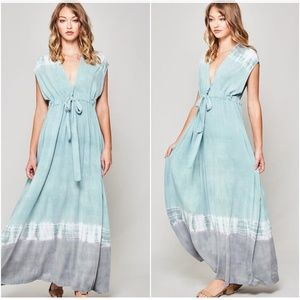 Boho Tie Dye Teal V neck Sleeveless Maxi Dress